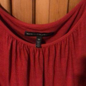 White House Black Market Tops - Coral cold shoulder lace trim T-shirt